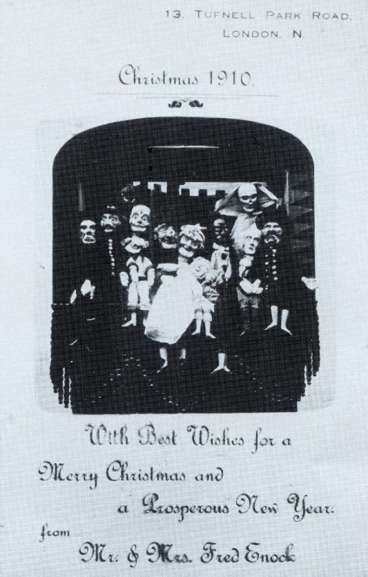A Christmas card showing Fred's Punch and Judy
